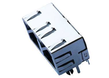 RJHSE-538X-02 1X2 Multi - Port RJ45 Connector No Magnetics With LEDs LPJE201AGNL