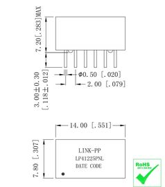 Chine Transformateur de LAN d'Ethernet de LP41225PNL HTA-1205-R 10/100 BASE-T usine