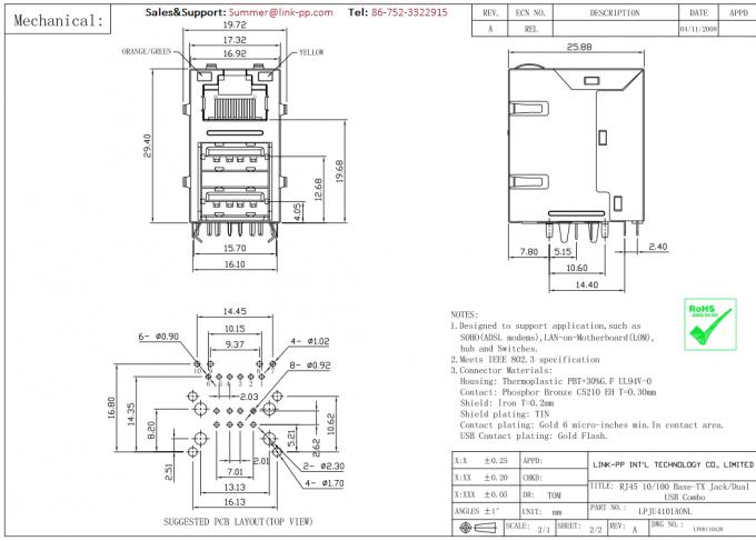 microcontr u00f4leur du connecteur lpju4101aonl de mtj